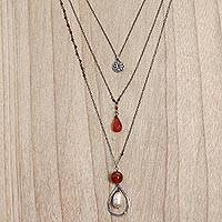 Carnelian and cultured pearl triple pendant necklace,