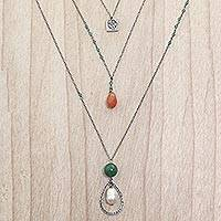 Multi-gemstone pendant necklace, 'Frangipani Beauty' - Pearl Quartz Carnelian 3 Chain Pendant Necklace Indonesia