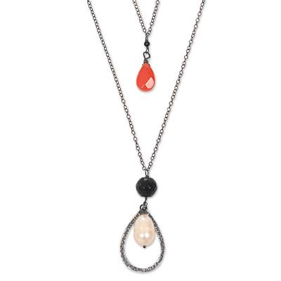Cultured Pearl Onyx and Carnelian Pendant Necklace