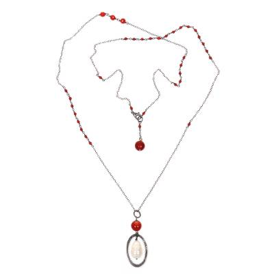 Cultured pearl and carnelian pendant necklace, 'Fountain of Happiness' - Cultured Pearl Carnelian Pendant Necklace from Indonesia