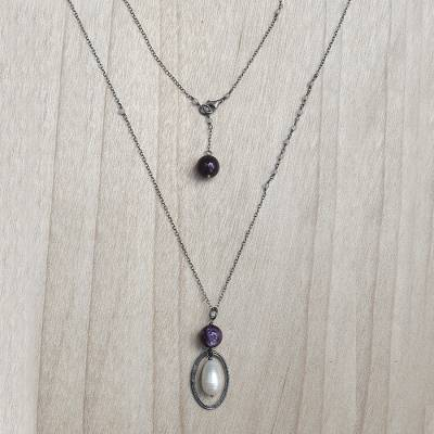 Multi-gemstone pendant necklace, 'Purple Raindrops' - Cultured Pearl Sterling Silver Pendant Necklace Indonesia