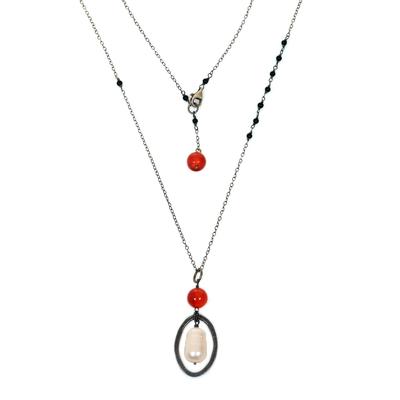 Cultured Pearl Carnelian Onyx Pendant Necklace Indonesia
