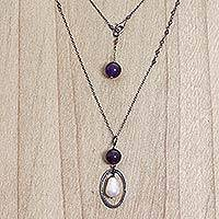 Amethyst and cultured pearl pendant necklace, 'Violet Dew' - Handcrafted Silver Amethyst Cultured Pearl Long Necklace