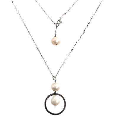 Cultured Pearl Moonstone Pendant Necklace from Indonesia