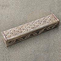 Wood box, 'Antiqued Jasmine' - Hand Carved Sono Wood Floral Decorative Box