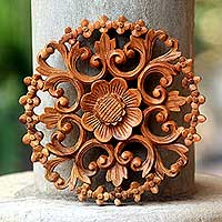 Wood relief panel, Halo of Flowers - Balinese Artisan Hand Carved Floral Wood Relief Panel