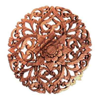 Wood relief panel, 'Royal Flower' - Traditional Balinese Floral Wool Round Relief Panel Carving