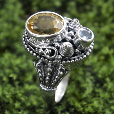 latest silver ring design jobs - Ornate Sterling Silver Balinese Blue Topaz and Citrine Ring