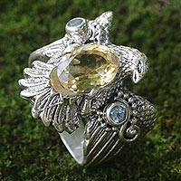 Citrine and blue topaz cocktail ring, 'Golden Eagle' - Sterling Silver Eagle Theme Ring with Citrine and Blue Topaz