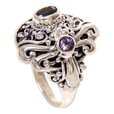 Blue topaz and amethyst cocktail ring, 'Seminyak Dragonfly' - Amethyst & Blue Topaz Sterling Silver Dragonfly Floral Ring
