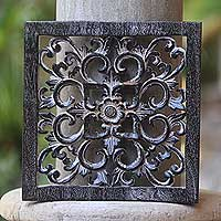 Wood relief panel, 'Black Floral Cross' - Signed Balinese Hand Carved Black Floral Cross Panel