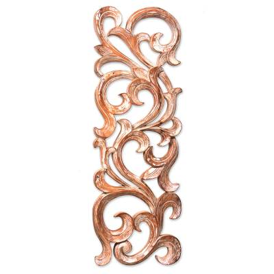Wood wall panel, 'Gentle Fern' - Hand Carved Wood Wall Panel with Fern Motif from Bali