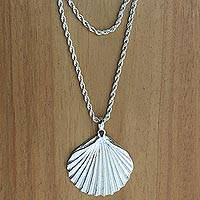 Sterling silver pendant necklace, 'Shells' - Hand Crafted Sterling Silver Necklace with Shell Pendant