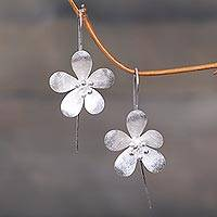 Sterling silver drop earrings, 'Petal Radiance' - Artisan Crafted Floral Sterling Silver Drop Earrings