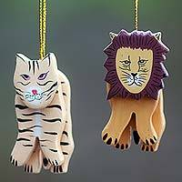 Wood ornaments, 'Tiger and Lion' (pair) - 2 Hand Crafted Tiger and Lion Holiday Hanging Ornaments