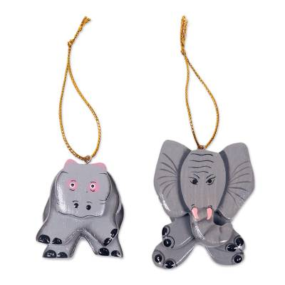 2 Hand Crafted Hippo and Elephant Hanging Holiday Ornaments