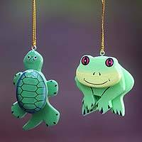 Wood ornaments, 'Turtle and Frog' (pair) - 2 Hand Crafted Frog and Turtle Hanging Ornaments from Bali
