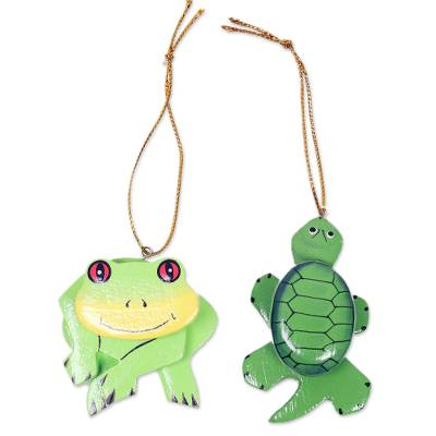 2 Hand Crafted Frog and Turtle Hanging Ornaments from Bali