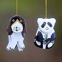 Wood ornaments, 'The Pup and the Panda' (pair) - Hand Crafted Dog and Panda Hanging Ornaments Holiday Art