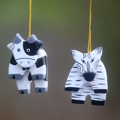 Wood ornaments, 'Zebra and Cow' (pair) - Balinese Hand Crafted Wood Zebra and Cow Ornaments (Pair)