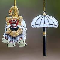 Wood ornaments, 'Barong and Umbrella' (pair) - Balinese Artisan Crafted Wood Holiday Ornaments (Pair)