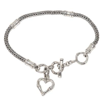 Balinese Bamboo Motif Sterling Silver Heart Charm Bracelet