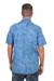 Men's cotton shirt, 'Blue Bali Expedition' - Men's Short Sleeve Blue Cotton Batik Shirt (image 2c) thumbail