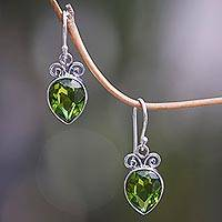 Peridot dangle earrings, 'Faceted Teardrop' - Artisan Crafted Balinese Silver and Peridot Dangle Earrings