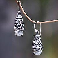 Cultured pearl dangle earrings, 'Bells of Bali' - Balinese Cultured Pearl Earrings in Sterling Silver