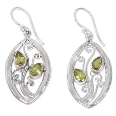Peridot Birthstone Sterling Silver Floral Leaves Dangle Earrings