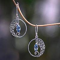 Blue topaz dangle earrings, 'Silver Chili' - Artisan Crafted Blue Topaz and Sterling Silver Earrings