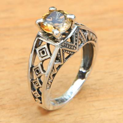 best silver rings design plaza - Balinese Silver Lattice Handcrafted Citrine Cocktail Ring