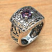 Amethyst cocktail ring, 'Bali Temple' - Handcrafted Amethyst Ring with Sterling Silver Cutout Motifs