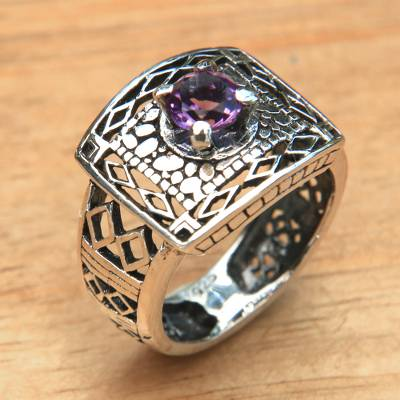 Handcrafted Amethyst Ring with Sterling Silver Cutout Motifs