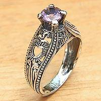 Amethyst solitaire ring, 'Sukawati Orchid' - Balinese Amethyst Solitaire with Sterling Silver Cutouts