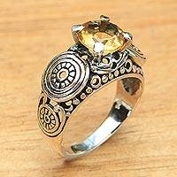 Citrine solitaire ring, 'Golden Moonlight' - Balinese Artisan Crafted Silver and Citrine Solitaire Ring