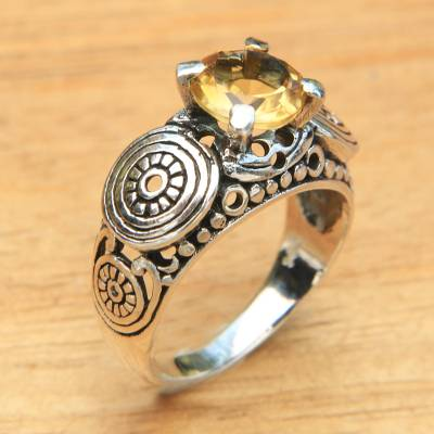 rings silver jewelry value - Balinese Artisan Crafted Silver and Citrine Solitaire Ring