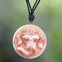 Bone and leather pendant necklace, 'Joyful Ganesha' - Hand Crafted Leather and Bone Necklace with Ganesha Pendant