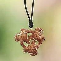 Bone and leather pendant necklace, 'Happy Turtle' - Hand Crafted Turtle Pendant on Leather Cord Necklace