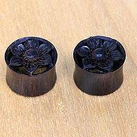 Wood body jewelry, 'Rustic Floral' - Hand Carved Floral Arang Wood Ear Gauges from Bali