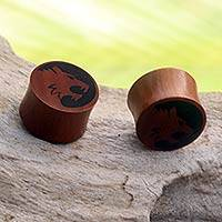 Wood ear plugs, 'Tiger Spirit' - Tiger Motif Handcrafted Wood Earplug Body Jewelry