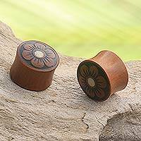 Wood earplugs, 'Discreet Flower' - Floral Sono Wood Handcrafted Earplug Earrings