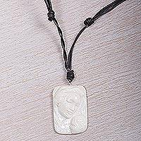 Bone and leather pendant necklace, 'Loving Virgin Mary' - Artisan Crafted Virgin Mary Medallion Necklace