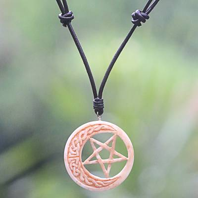 Bone and leather pendant necklace, Celtic Moon Star