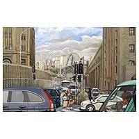 'Humble Center' (2010) - Large Cityscape Painting with Social Message Signed Art