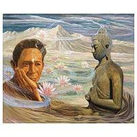 'Buddha Glance' (2012) - Man with Buddha and Lotus Painting Realism Art from Bali