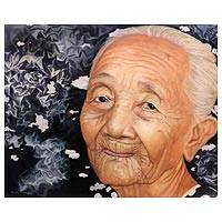 'Grandmother' (2015) - Portrait of Balinese Smiling Grandmother Realist Painting