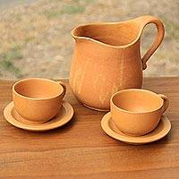 Ceramic coffee set, 'Tabanan Ginger' (set for 2) - Orange Ceramic Coffee Pitcher with Cups and Saucers for 2