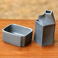 Ceramic sugar bowl and creamer, 'Cloudy Morn' - Contemporary Grey Ceramic Handcrafted Sugar Bowl and Creamer