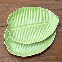 Ceramic canape plates, 'Jungle Banana Leaf' (pair) - Green Ceramic 7-Inch Banana Leaf Canape Plates (Pair)